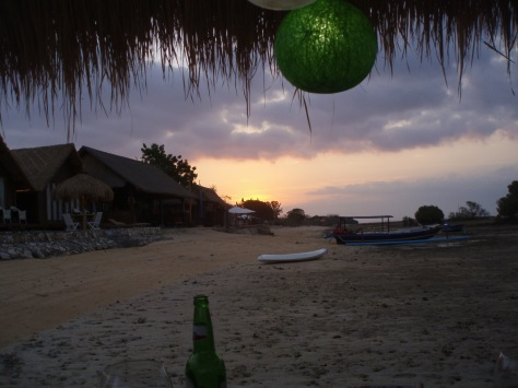 The sunsets while we drink beer on a bale by the mangroves