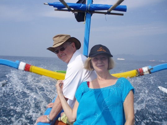 On a traditional Balinese fishing boat (jukung)