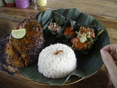 Fish dish served in banana leaves