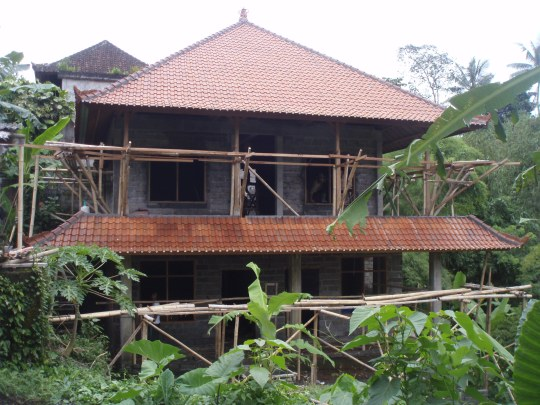 The roof tiles are on