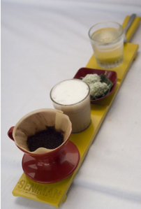Seniman coffee - served on a long thin tray