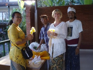 Dayu, Pasek me and Yaniq preparing some offerings