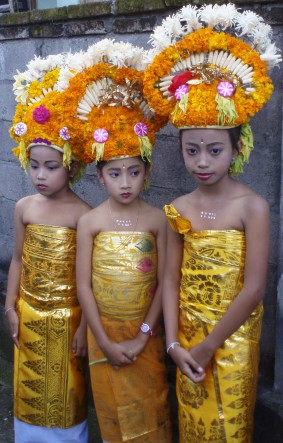 3 young dancers in full costume