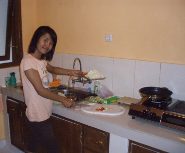 My friend Agung - cooking in my kitchen