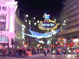 A Christmas view from Piccadilly Circus
