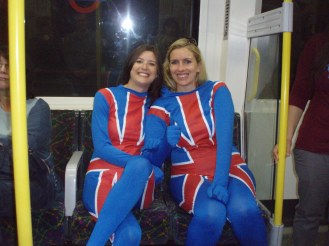 Team GB supporters on the tube