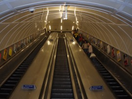 Escalators going down to the tube