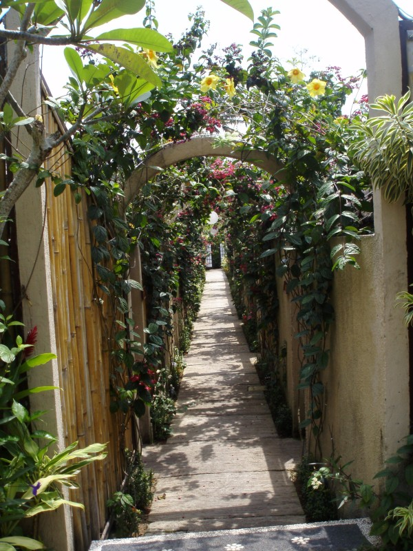Through the archways of flowers to your spa room