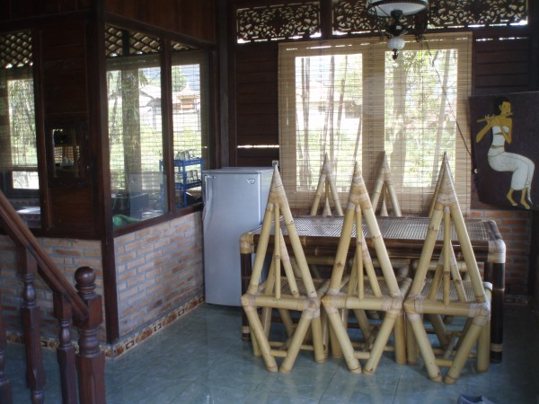 Bamboo dining table and chairs for six people
