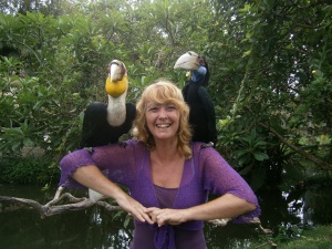 Two hornbills on my shoulders