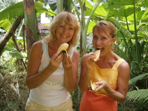 Sherry joined me - eating the freshest of bananas