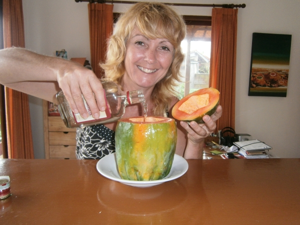 Pour the Vodka into the papaya