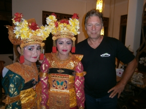 Vince with traditional Balinese dancers