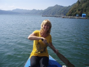 Rowing on the volcanic lake