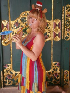 Blowing that Balinese trumpet