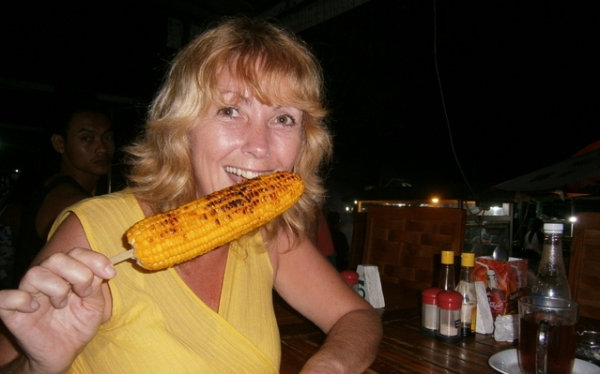 Grilled corn on a stick