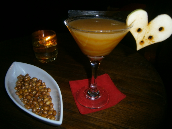 A romantic cocktail served at Maha