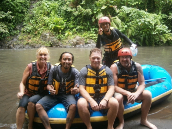 The rafting has ended - let's eat!