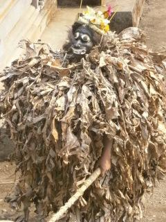 a flounce of dried banana leaves