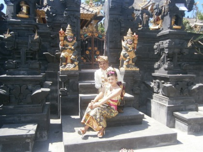 Posing in front of a family temple