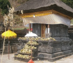 Temple adorned with offerings