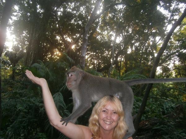 Feeding a monkey in the Monkey Forest