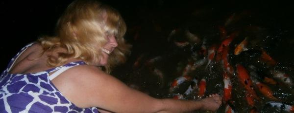 Feeding the fish - at a restaurant